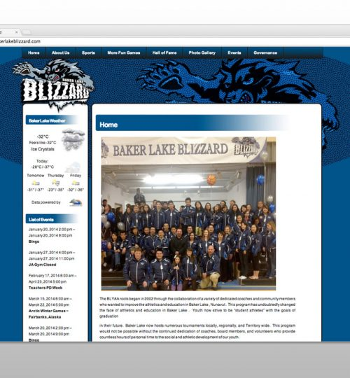 Baker Lake Blizzards Web Site